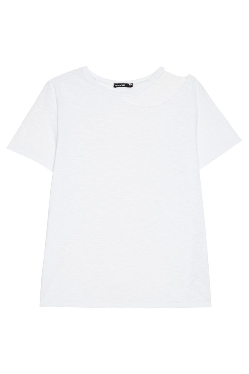 Manouk Белая футболка с разрезом на плече футболка белая catimini ут 00011611