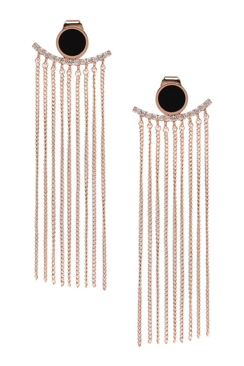 Exclaim Золотистые серьги с цепочками украшения сороковых годов в стиле ар деко