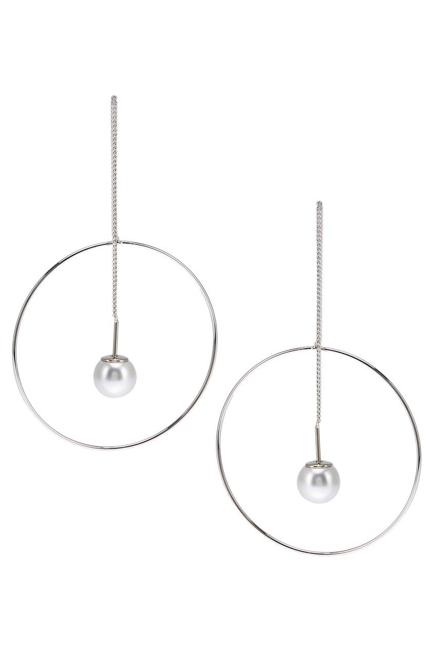 Серьги-цепочки с кольцами серебристые