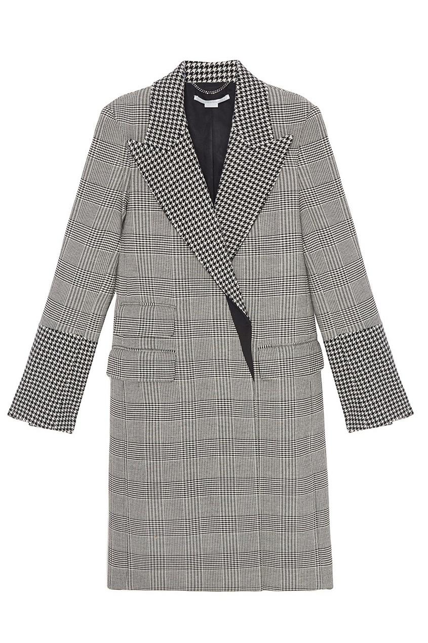 Stella McCartney Шерстяное черно-белое пальто серое пальто в клетку