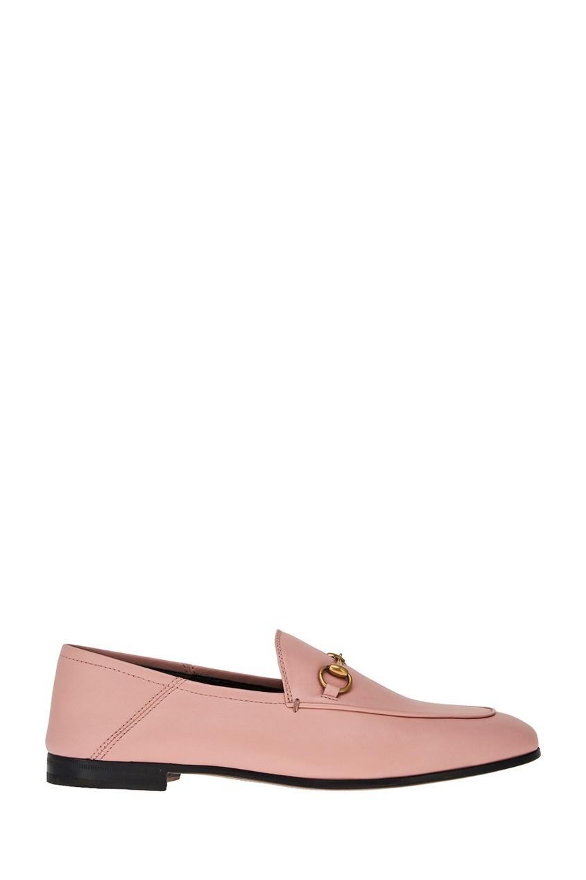 Gucci Розовые лоферы из кожи Brixton блузка женская averi цвет оранжевый 1440 размер 64 66