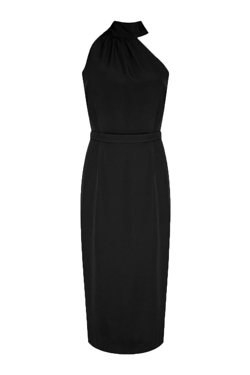 Черное платье с асимметричным верхом