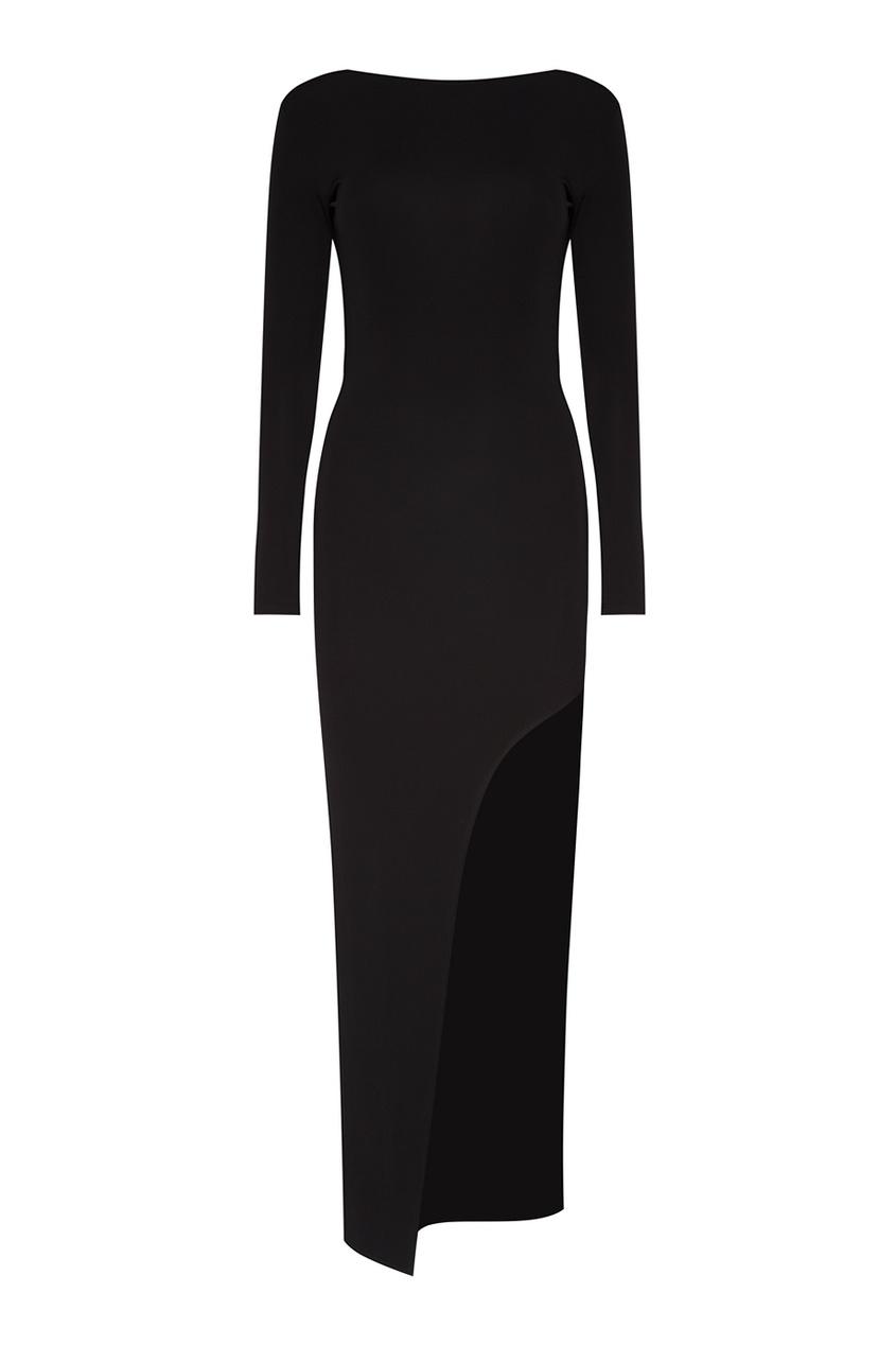 Трикотажное платье с асимметричным низом