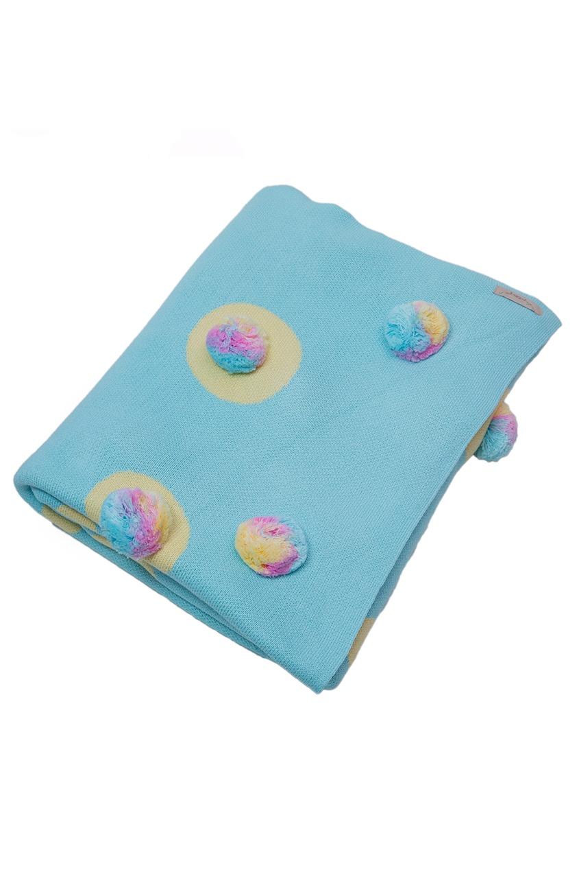 La Petite Joie Голубой плед с помпонами «Цирк» ботинки блестящие с помпонами 19 24