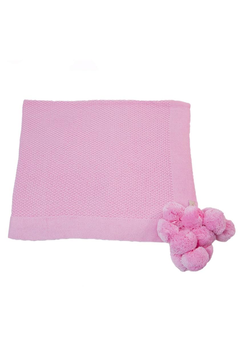 Розовый плед из хлопка «Маленькая радость»