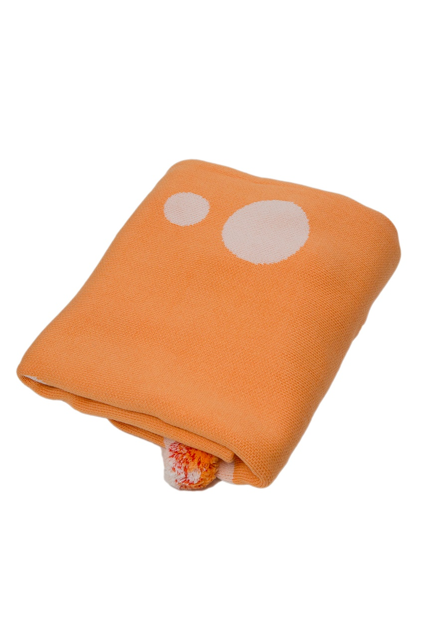 Оранжевый плед с помпонами «Цирк»