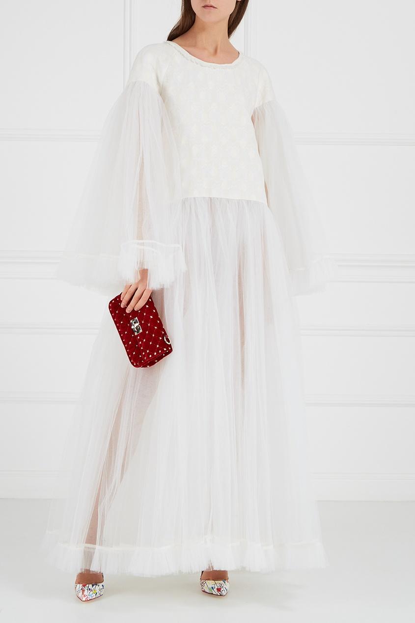 Белое платье из жаккарда с фатином