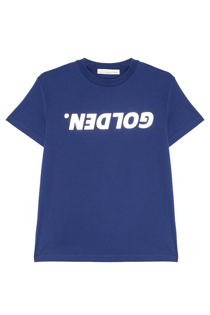 Хлопковая футболка с серебристым логотипом