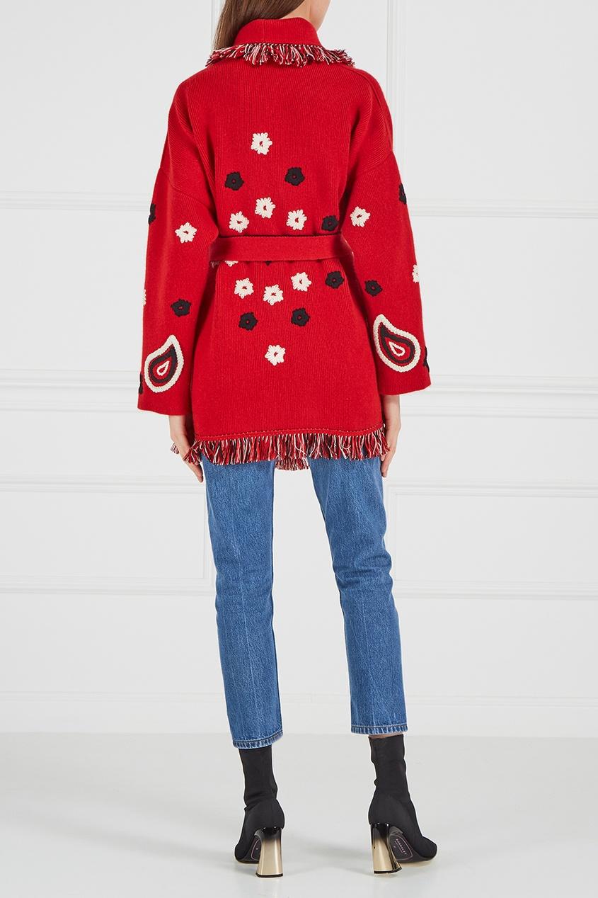 Кашемировый кардиган с вышивкой красный