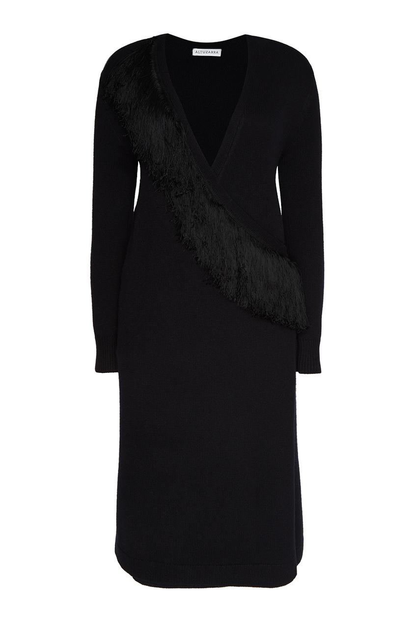 Altuzarra Черное платье с запахом платье черное с паетками 44