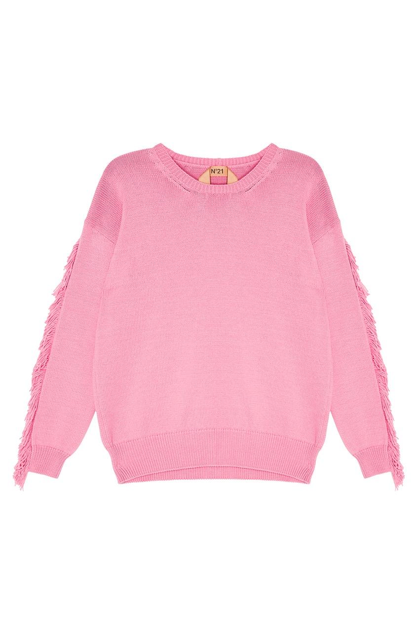 Розовый джемпер с бахромой на рукавах
