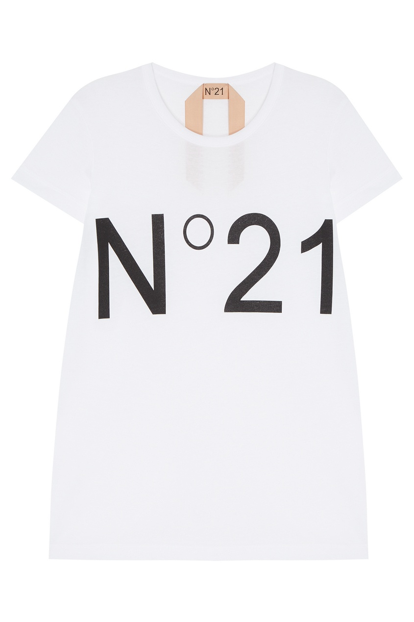 No.21 Белая футболка с логотипом футболка белая с принтом ido ут 00004169