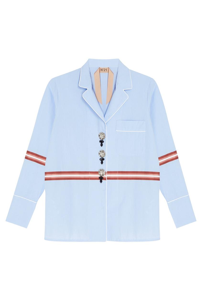 No.21 Хлопковая рубашка с декоративными пуговицами no 21 хлопковая рубашка с перьями