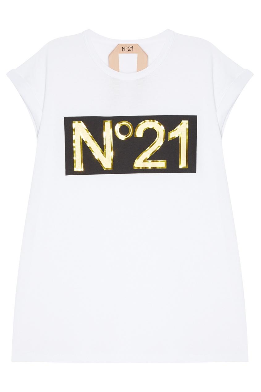 No.21 Хлопковая футболка с логотипом no 21 хлопковая рубашка с перьями