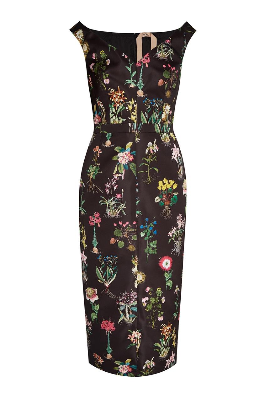 No.21 Платье-футляр с цветочным принтом платье футляр с цветочным рисунком