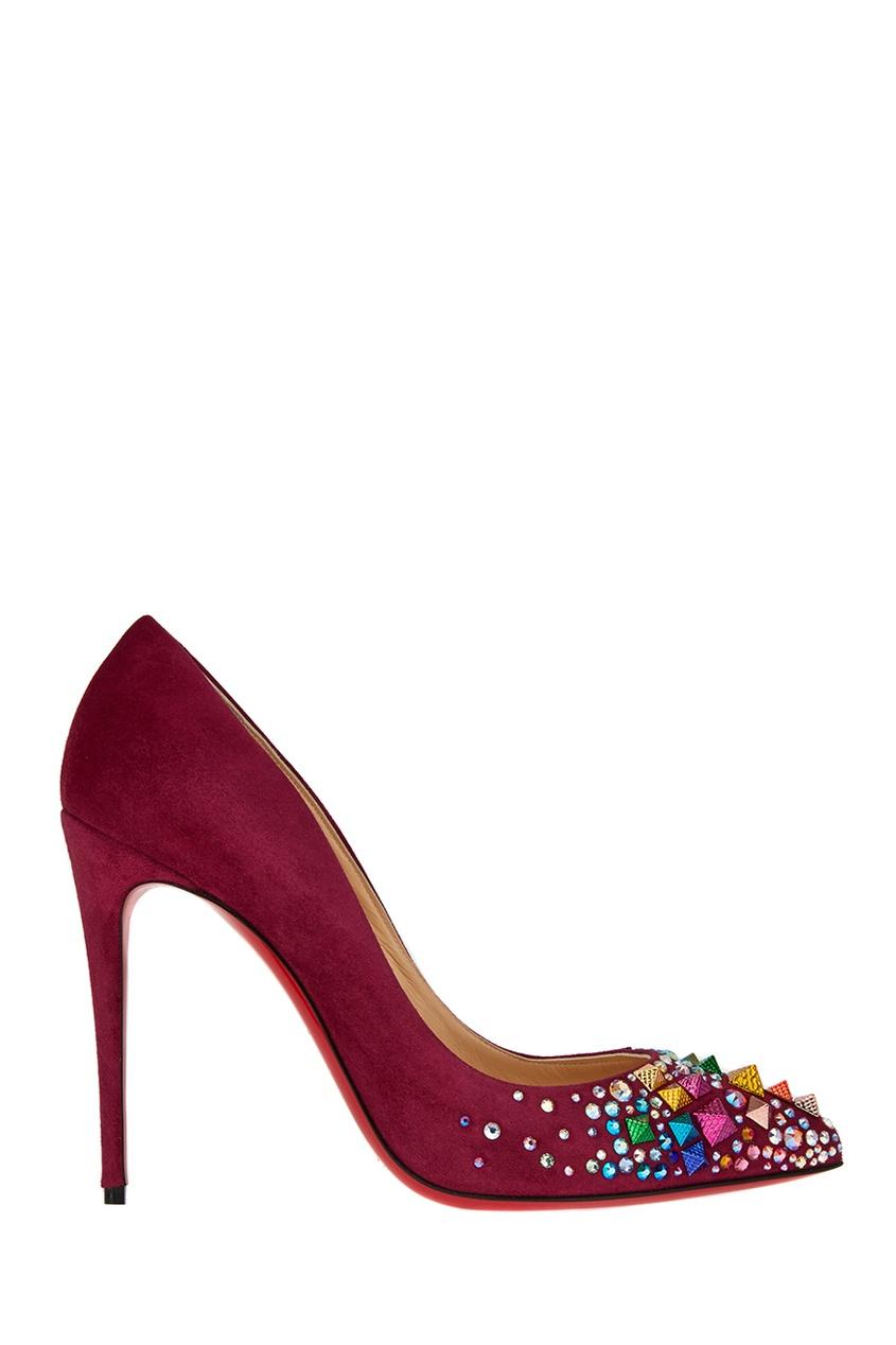 Бордовые замшевые туфли Keopump 100 Christian Louboutin