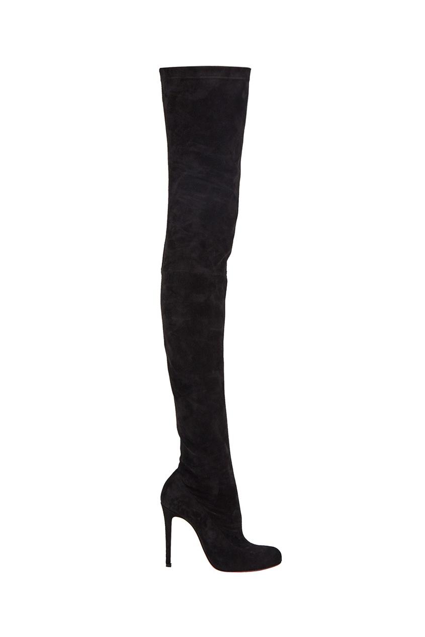 Черные замшевые ботфорты Louise X 100 Christian Louboutin