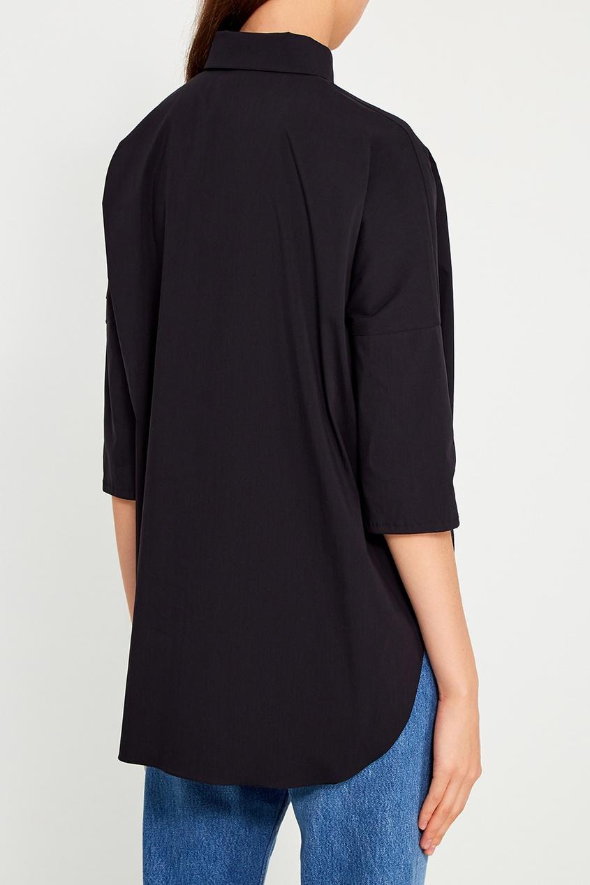 Tegin Черная хлопковая рубашка thl черная рубашка с отложной планкой