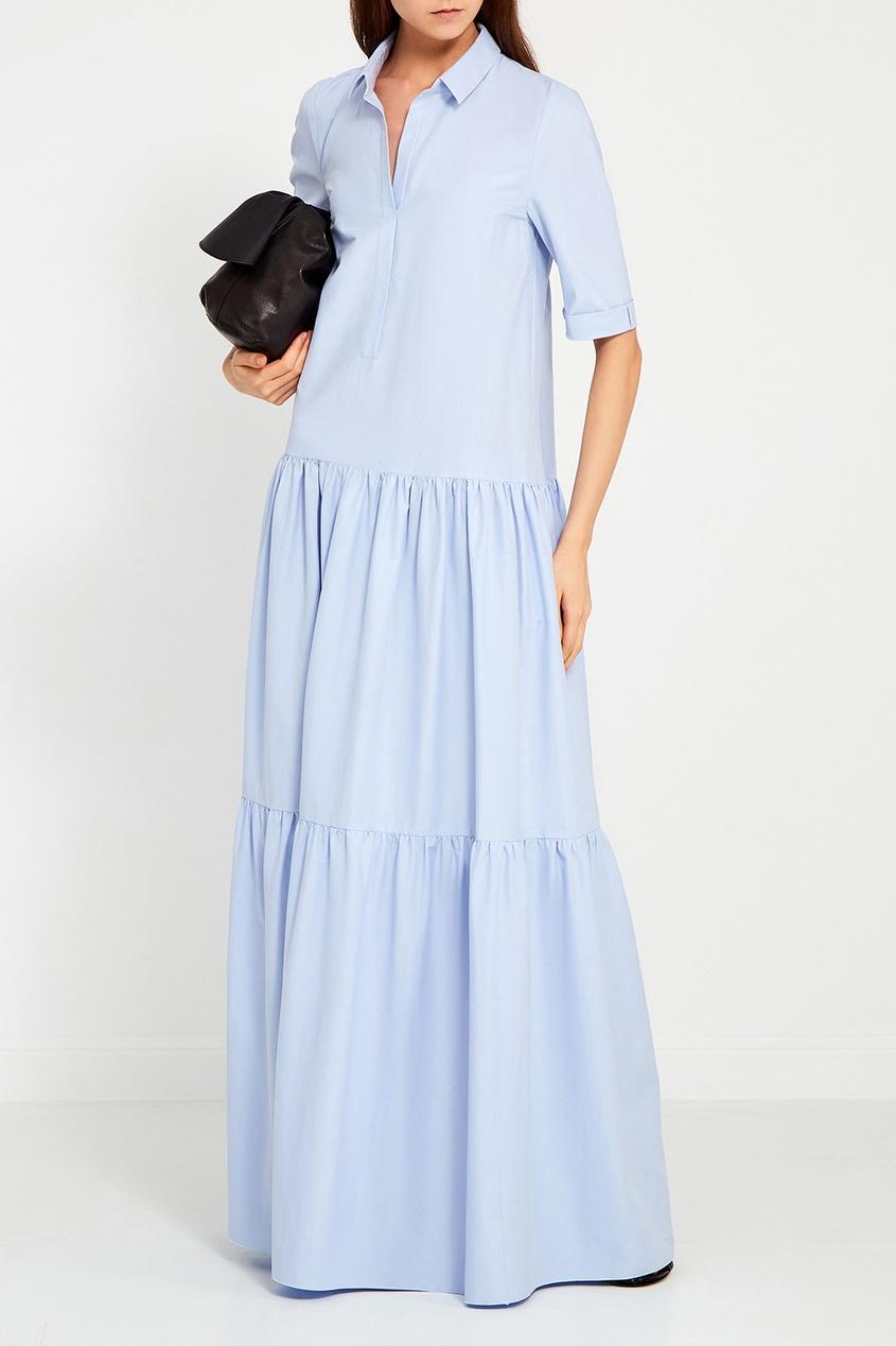 Голубое хлопковое платье с воланами