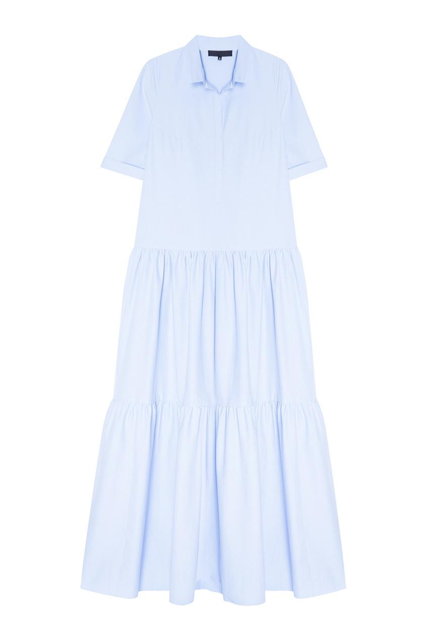 Tegin Голубое хлопковое платье с воланами tegin льняной топ