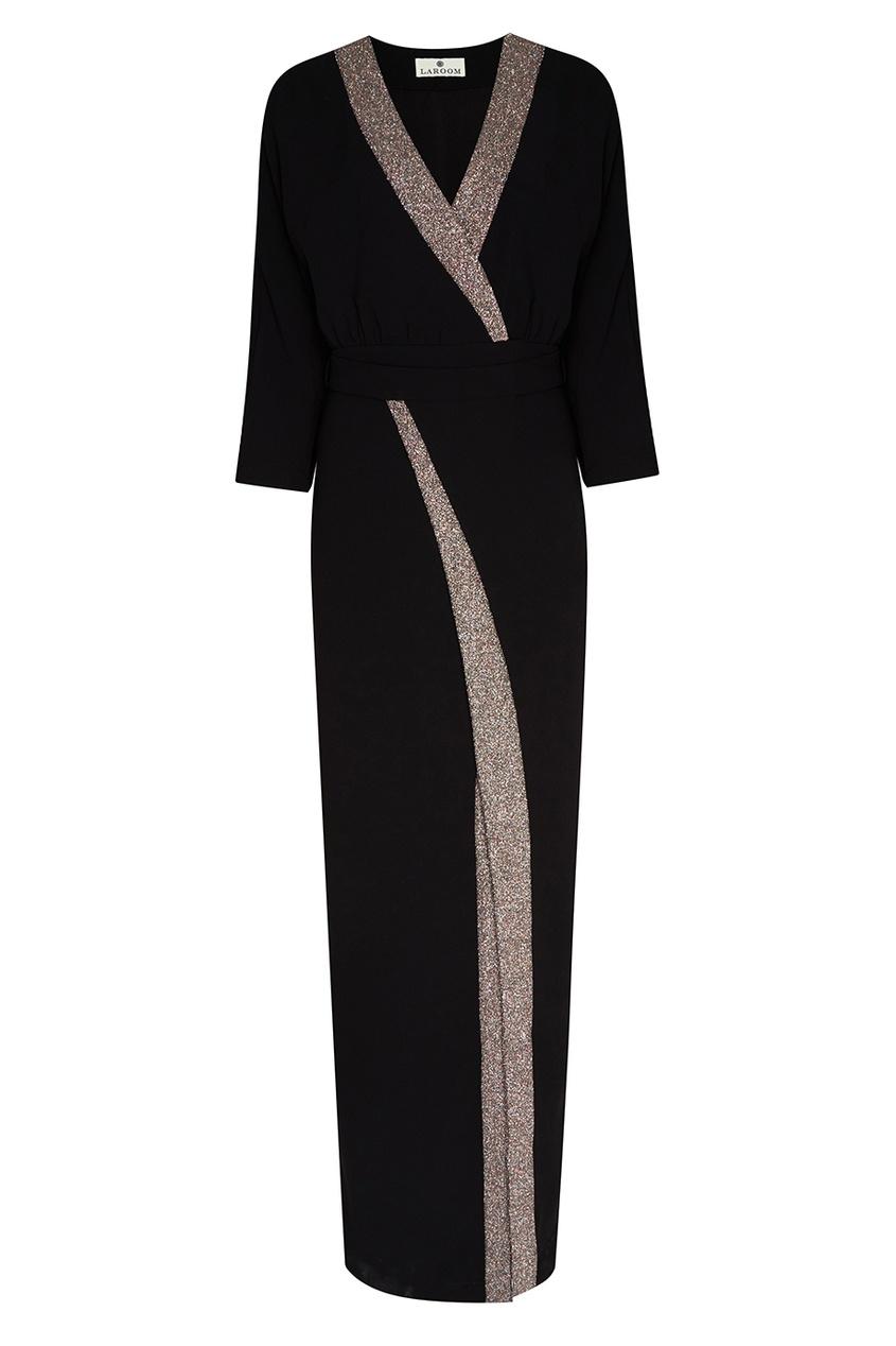 LAROOM Черное платье с запахом платье черное с паетками 44
