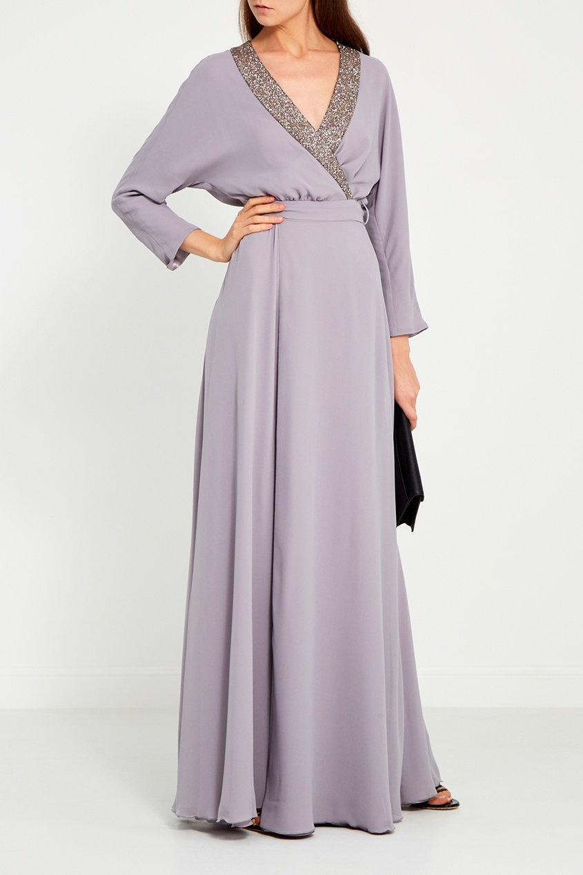 LAROOM Серое платье с запахом laroom черное платье макси