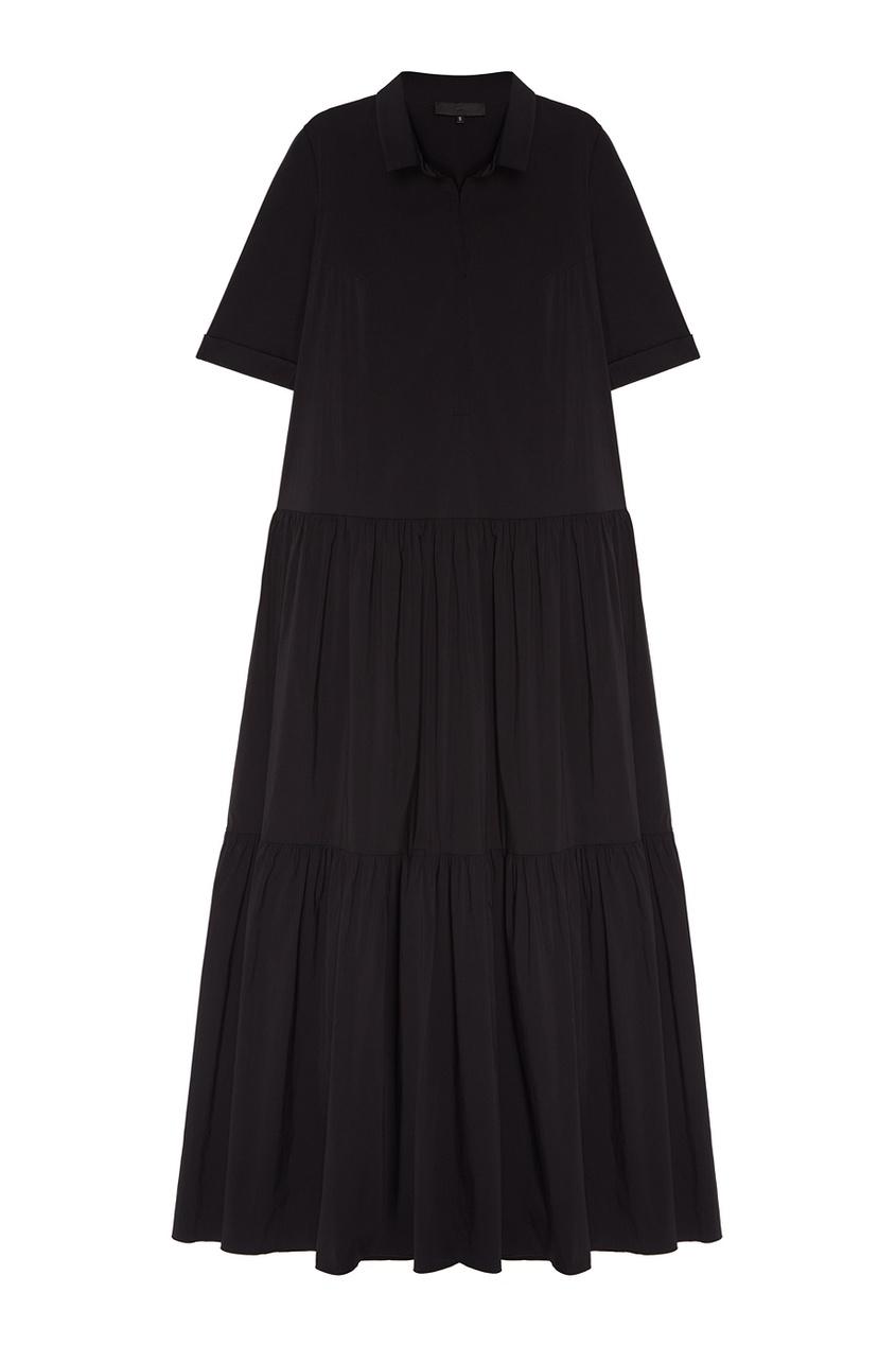 Черное хлопковое платье с воланами