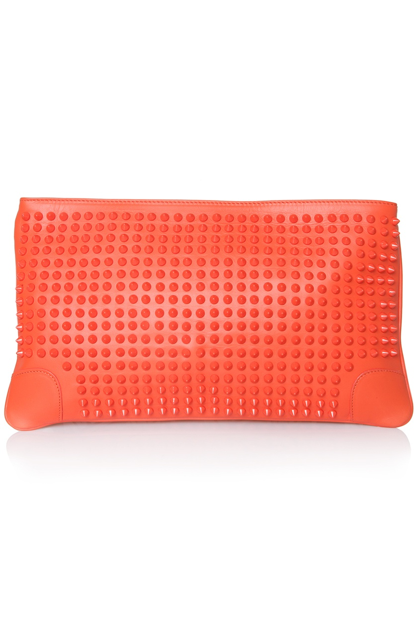 Кожаный клатч Loubiposh Clutch Calf Paris/Spikes