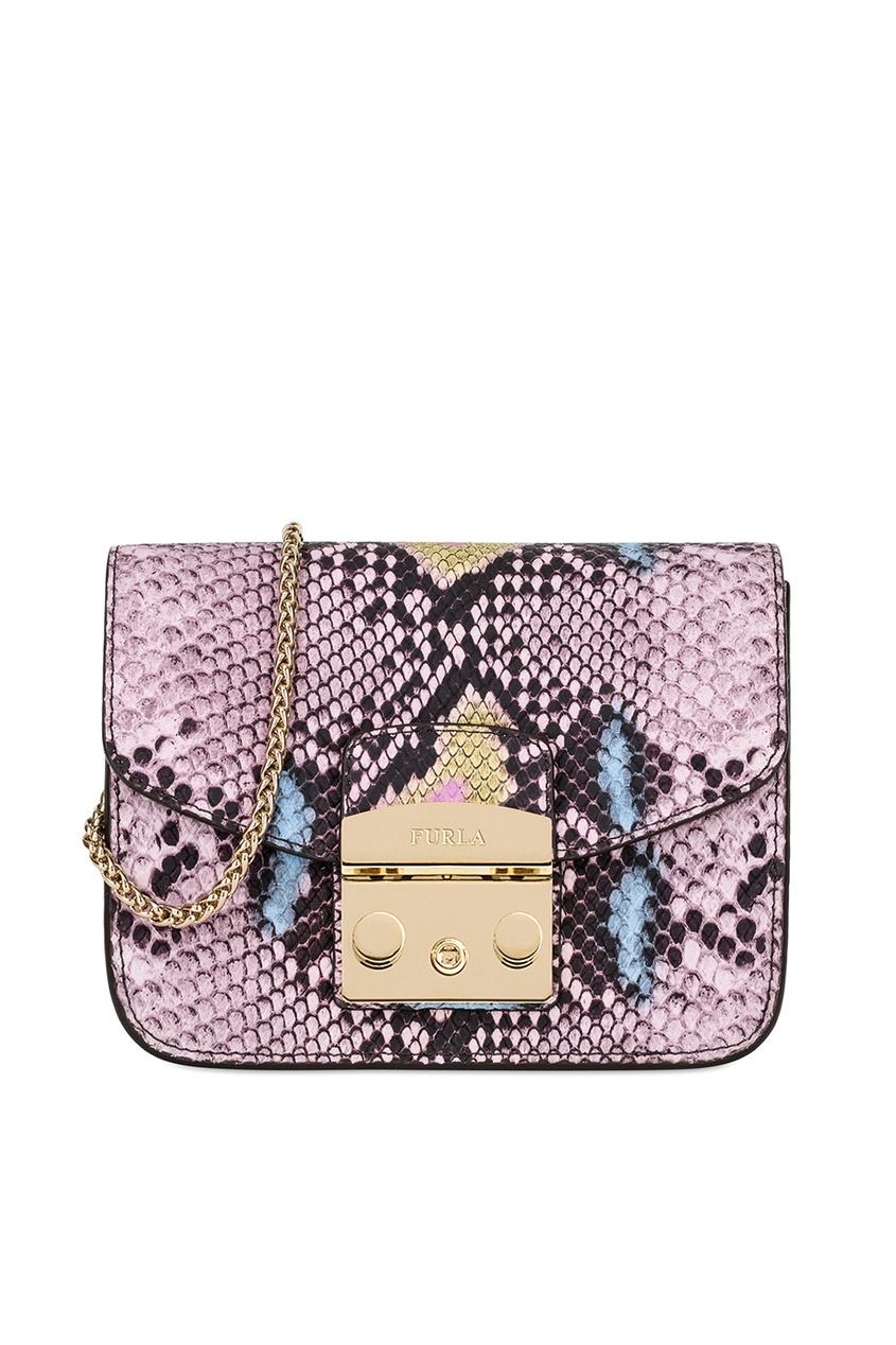 FURLA Розовая сумка из тисненой кожи Metropolis furla синяя сумка из текстурированной кожи metropolis