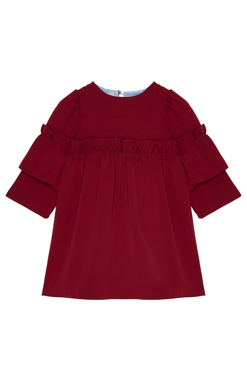 Бордовое платье с драпировками