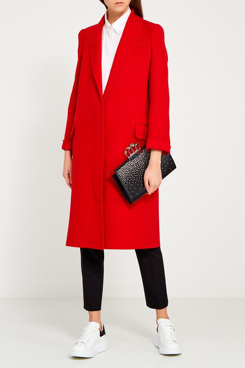 Alexander McQueen Красное пальто из шерсти и кашемира пальто из шерстяного драпа 70