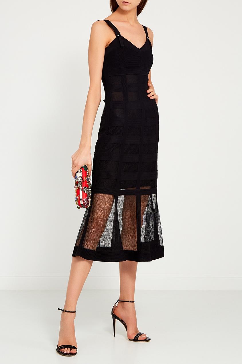 Шелковое платье с прозрачным подолом