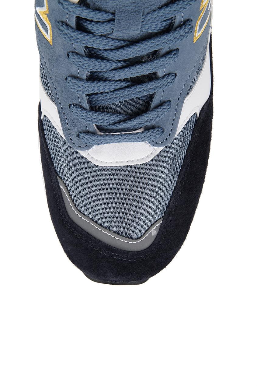 Замшевые кроссовки с контрастными деталями №1500