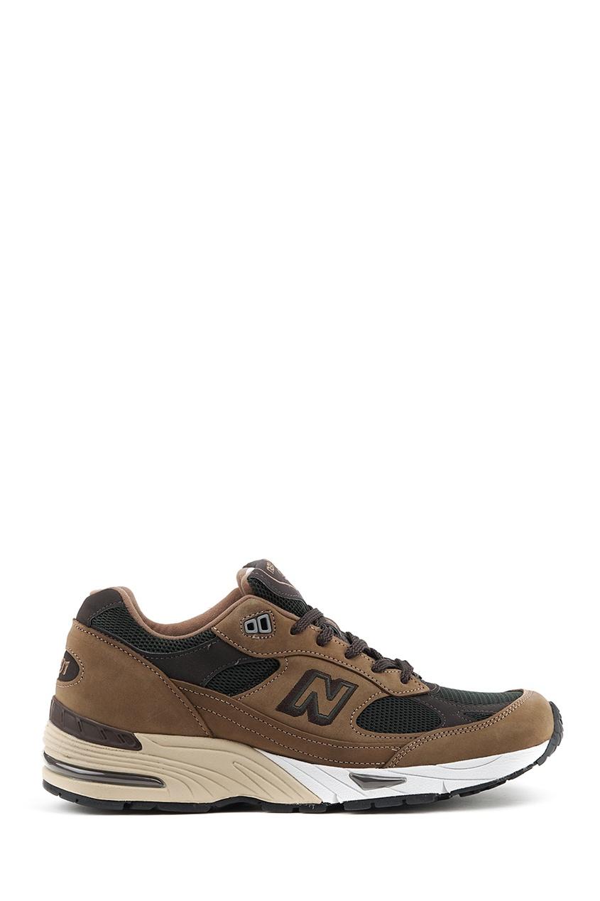 New Balance Коричневые кроссовки из замши и текстиля №991 купить new balance u420ukg в сургуте