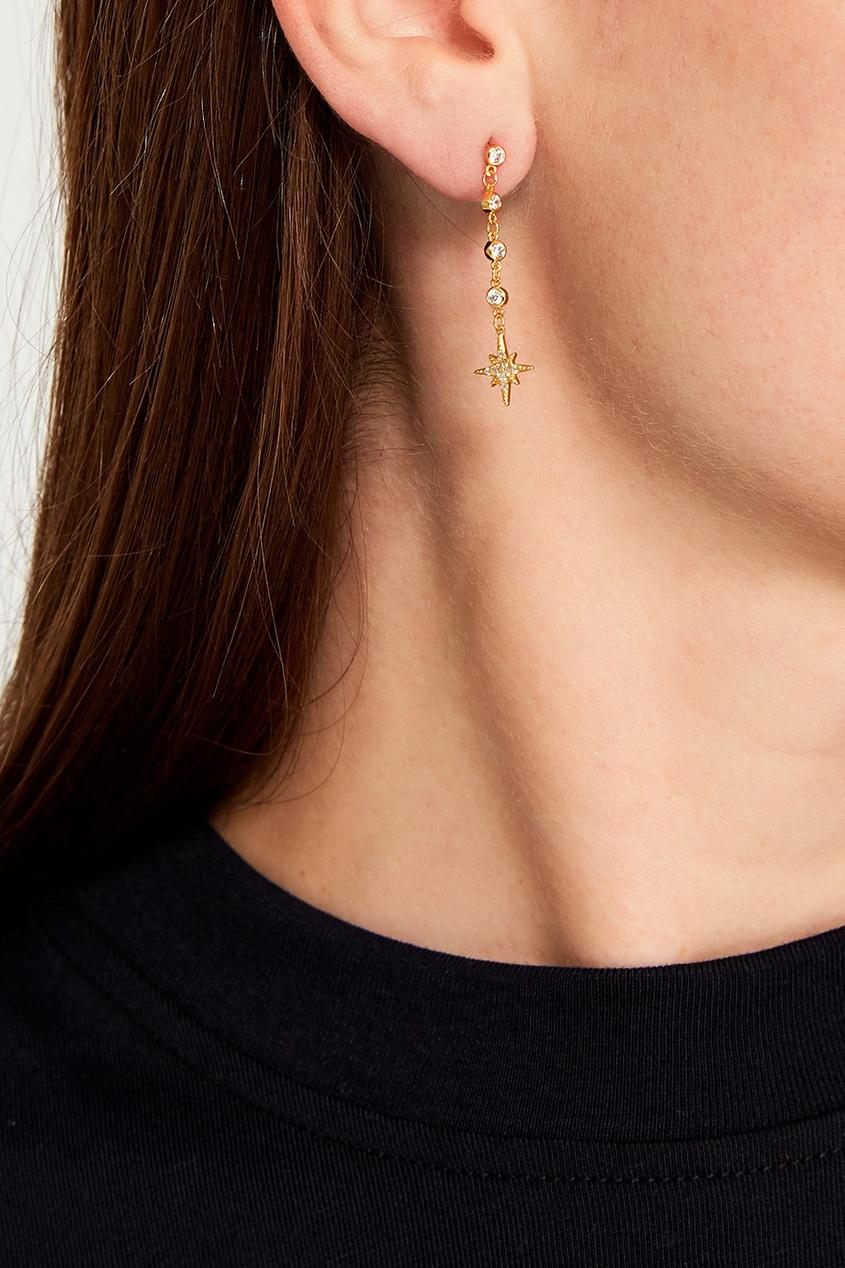 Exclaim Золотистые серебряные серьги со звездами серьги с подвесками jv серебряные серьги с авантюринами куб циркониями и позолотой or 3664 aw 001 yg