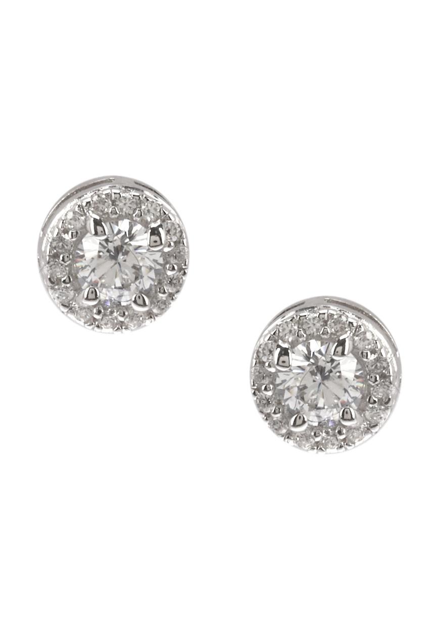 Exclaim Серьги-гвоздики серебряные с кристаллами exclaim серьги гвоздики серебряные со светлыми камнями