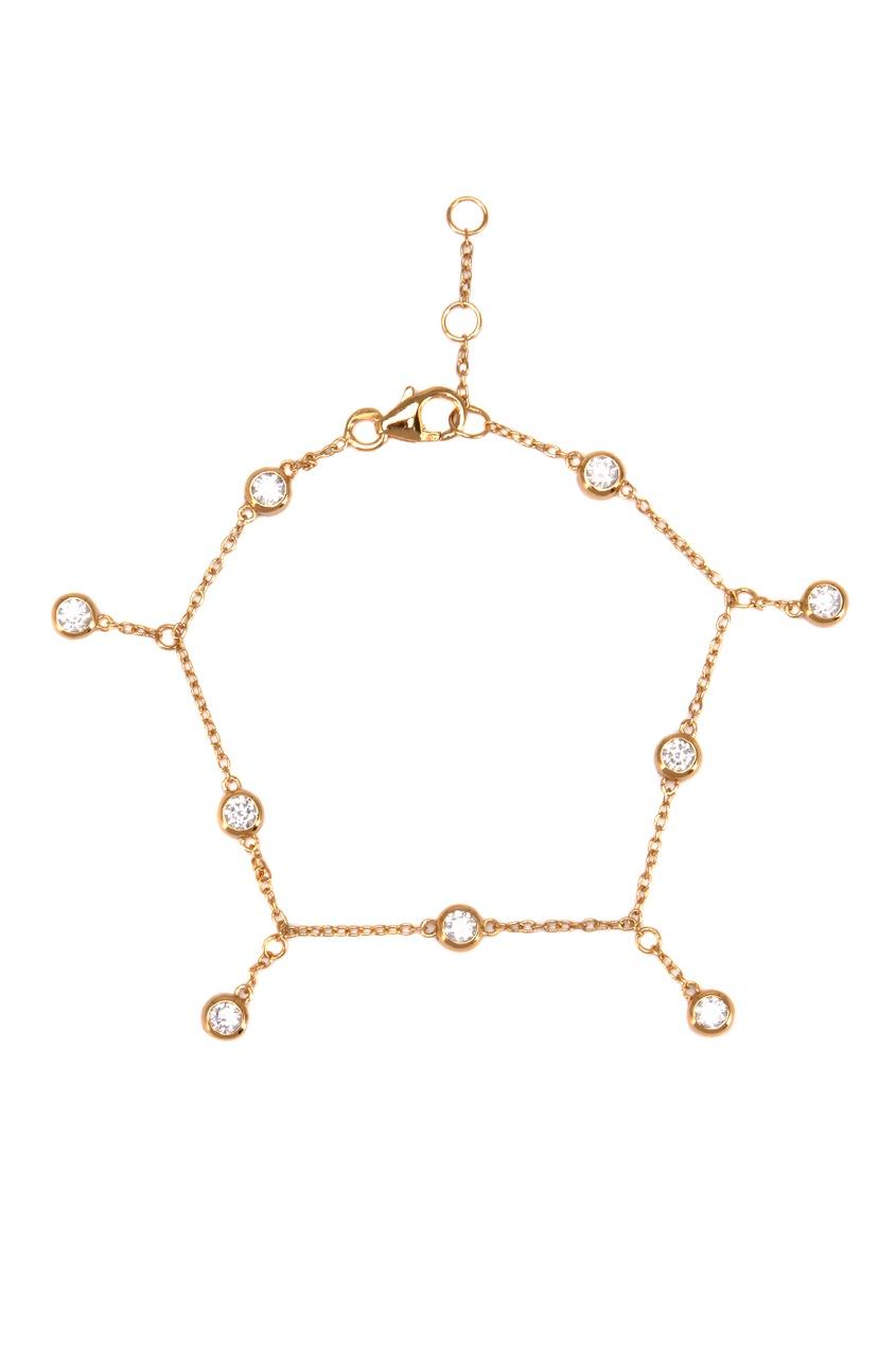 Exclaim Золотистый браслет из серебра с подвесками браслеты exclaim легкий браслет цепочка с миниатюрными цирконами
