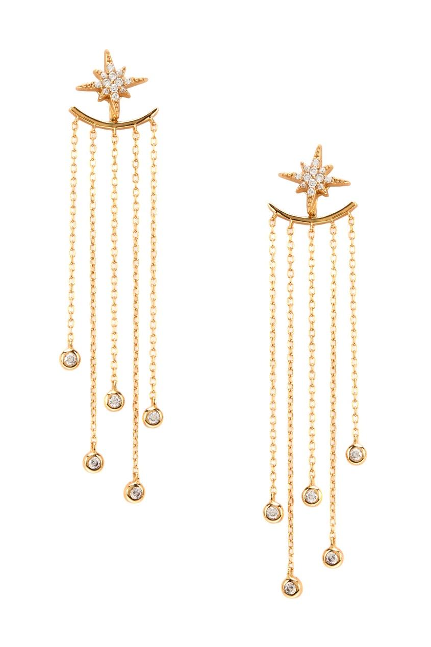 Золотистые серьги из серебра с подвесками-цепями