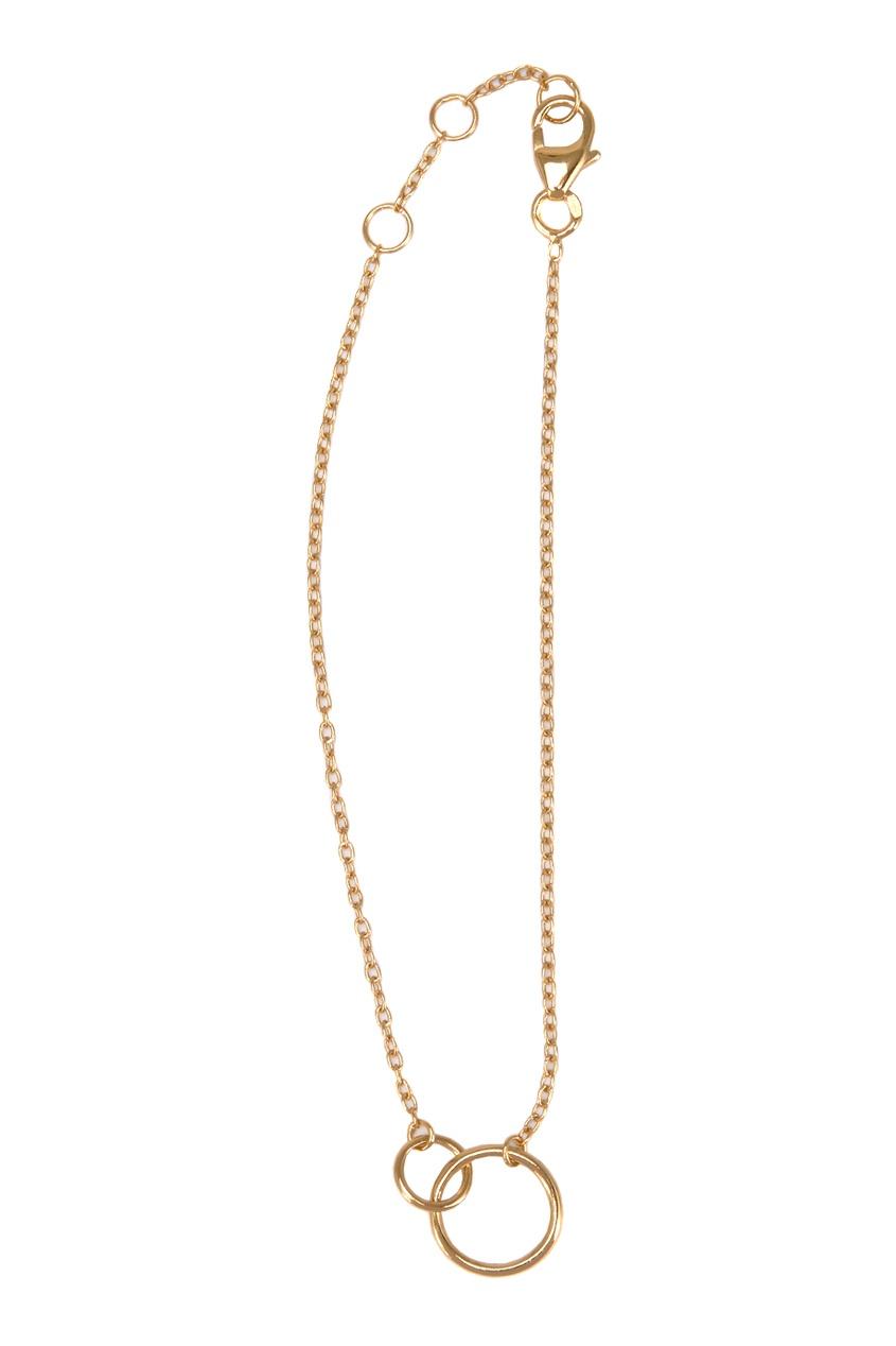 Золотистый серебряный браслет с кольцами