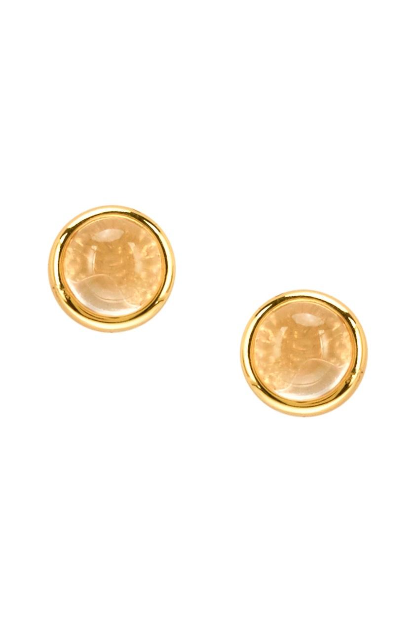 Золотистые серьги-гвоздики из серебра
