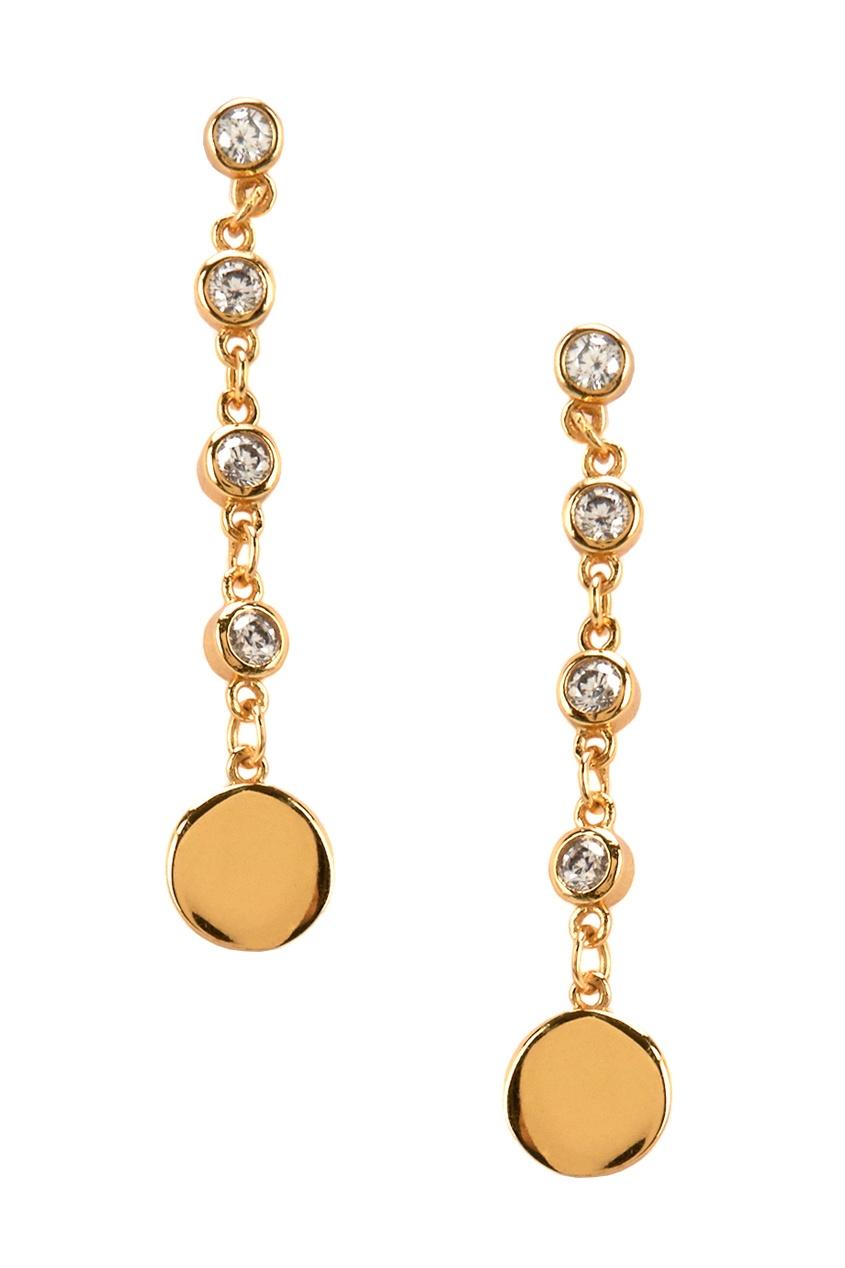 Exclaim Золотистые серебряные серьги-цепочки с кристаллами