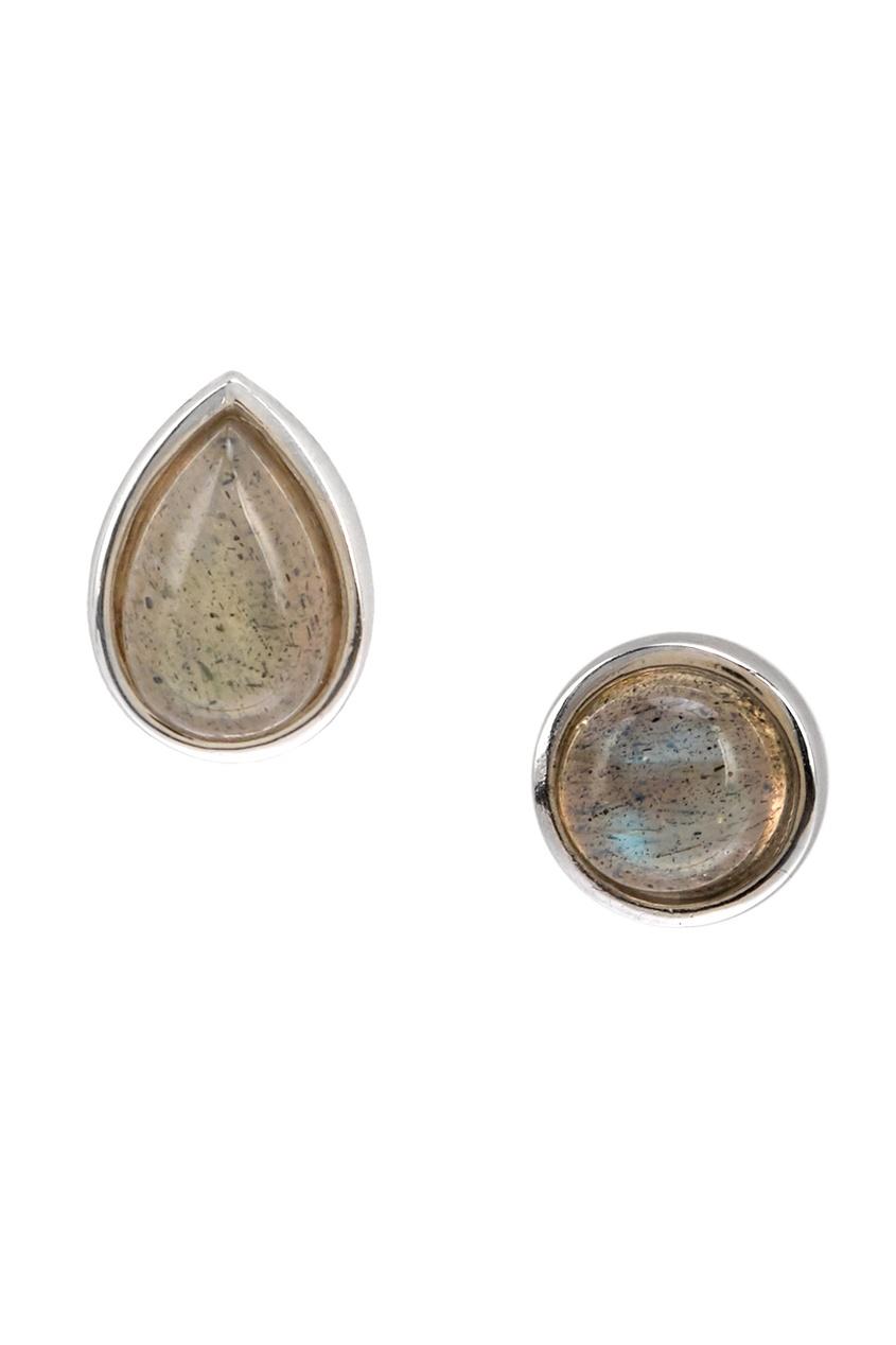 Exclaim Асимметричные серебряные серьги с камнями