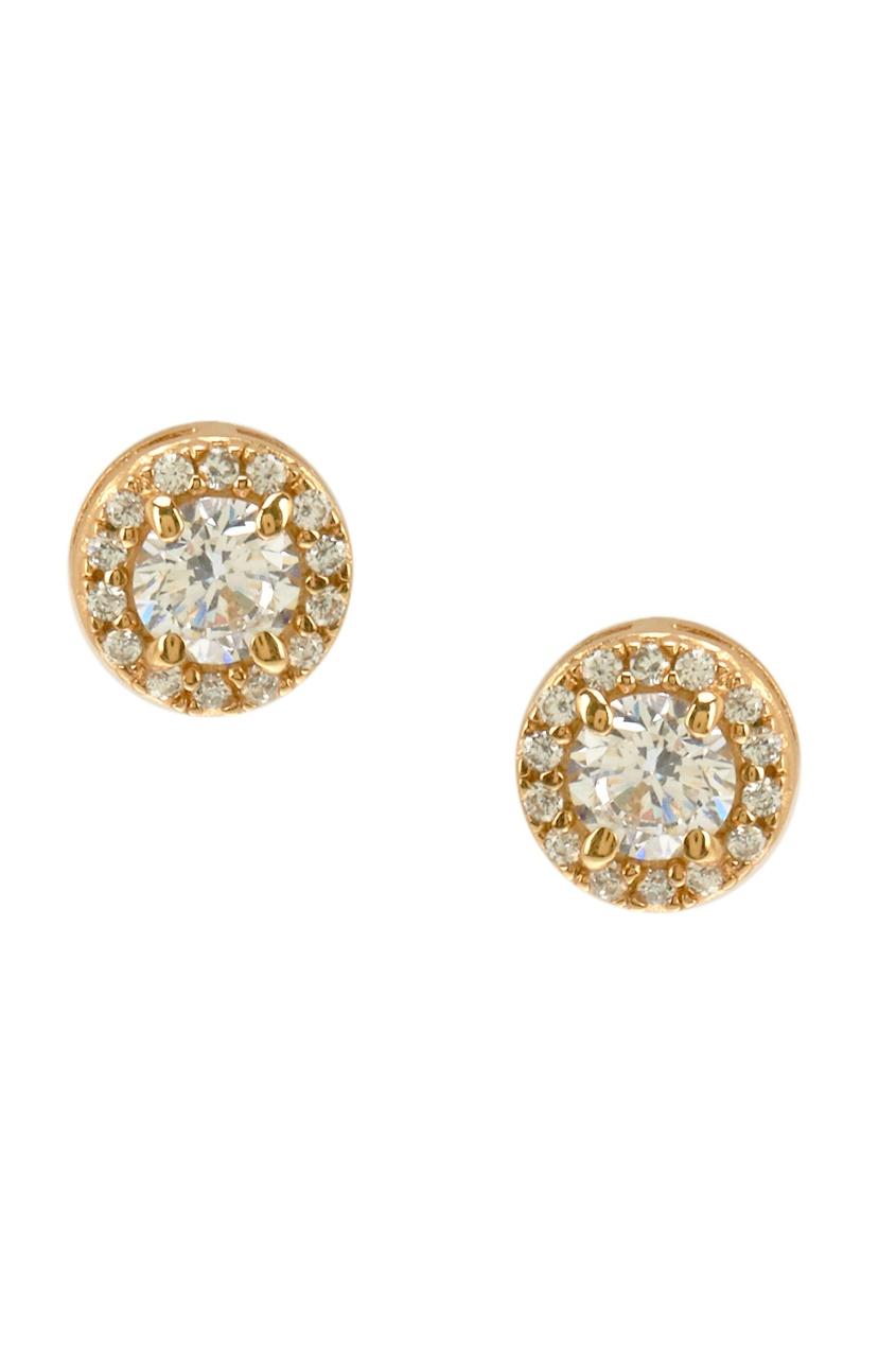 Exclaim Золотистые серьги-гвоздики из серебра с кристаллами