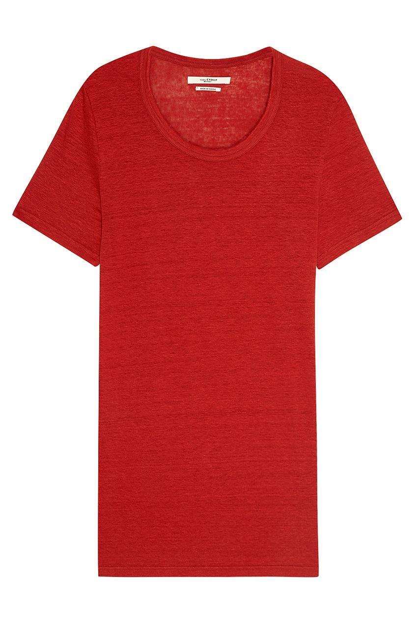 где купить Isabel Marant Etoile Льняная футболка красного цвета по лучшей цене