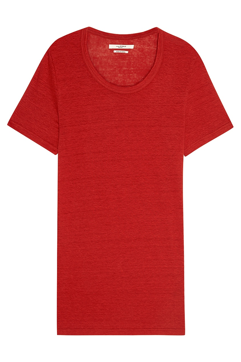 Isabel Marant Etoile Льняная футболка красного цвета isabel marant сапоги