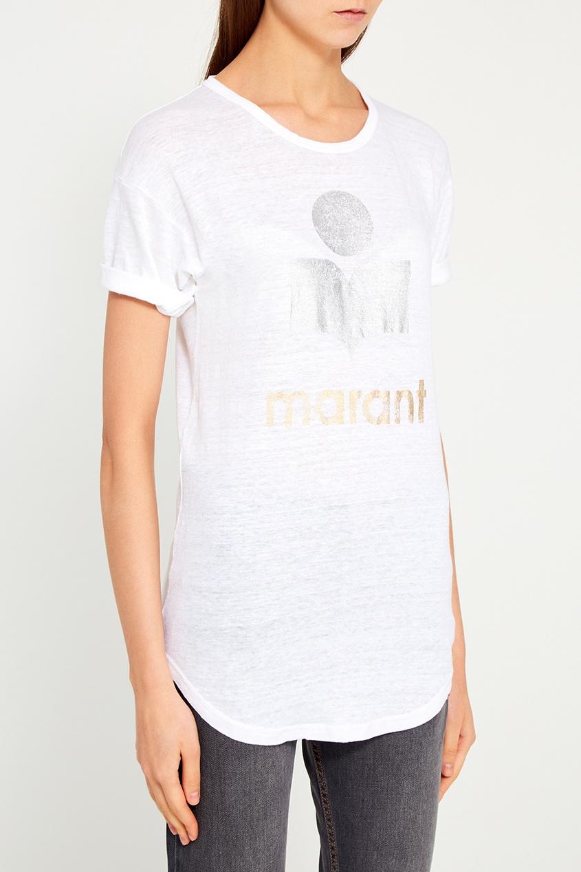 Льняная футболка с логотипом