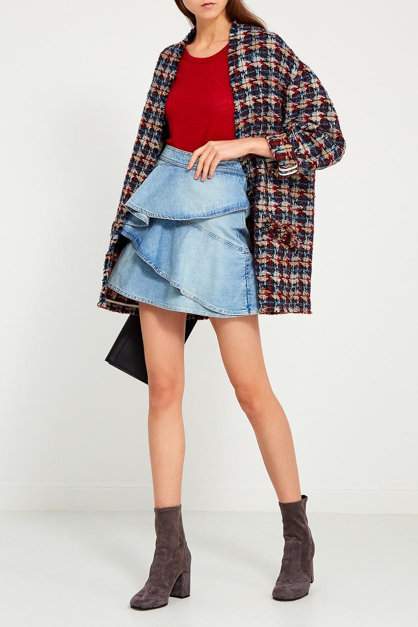 Isabel Marant Etoile Джинсовая юбка с воланами цена 2017