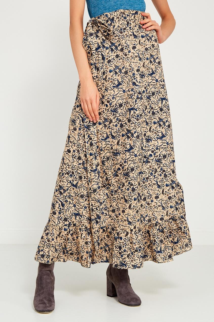 Льняная юбка с цветочным принтом