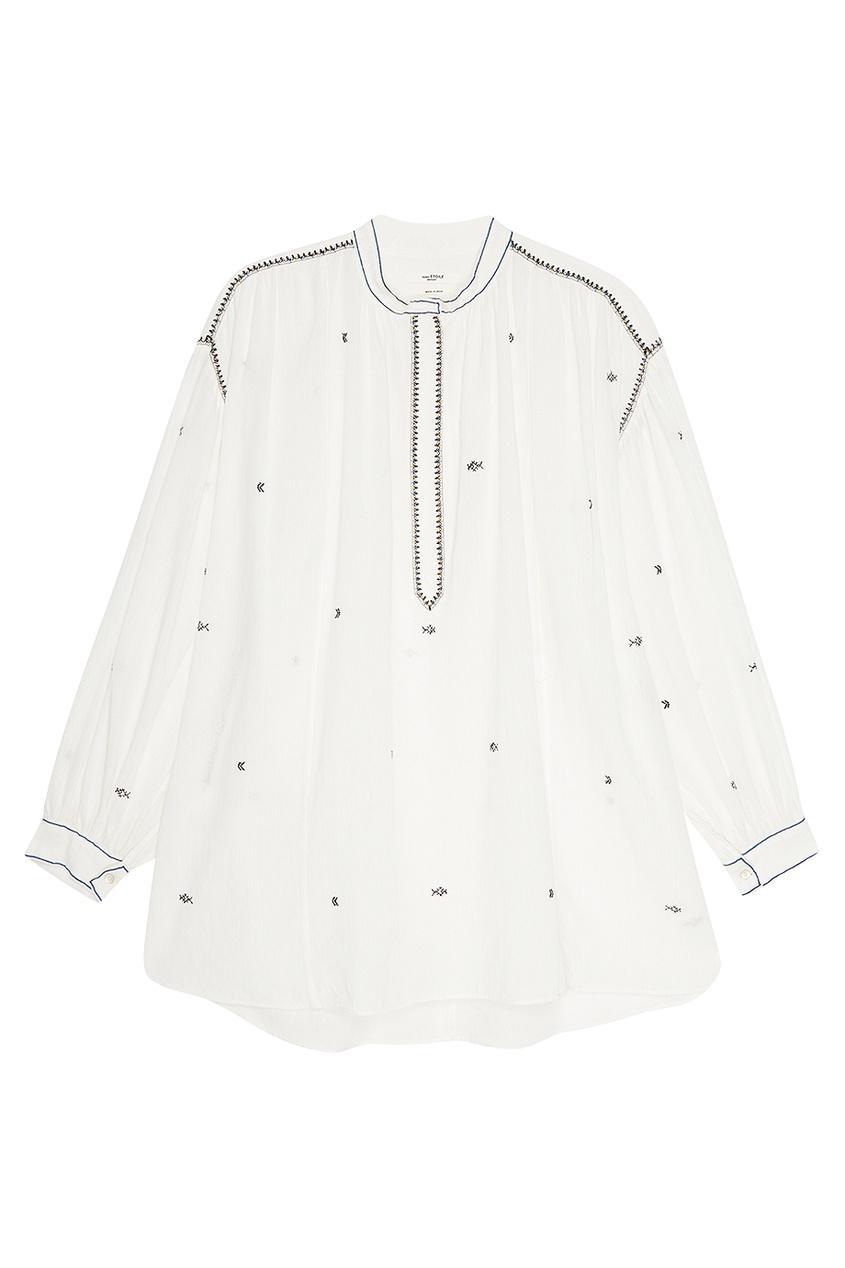 Купить со скидкой Хлопковая блузка с вышивкой