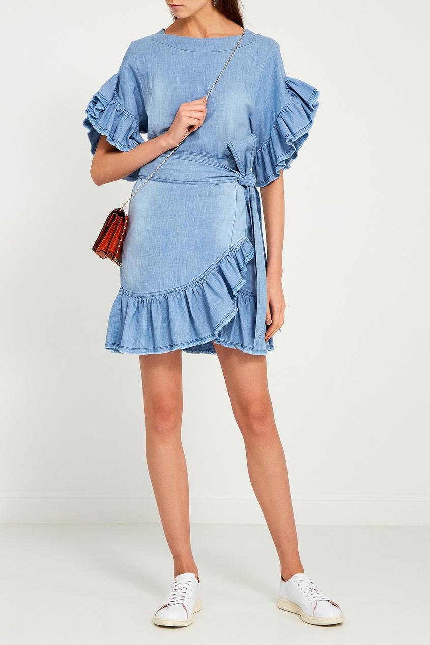 Джинсовое платье с оборками